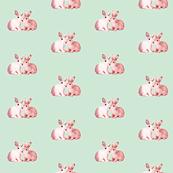 Bunnies in Love Palest Duck Egg & Pink