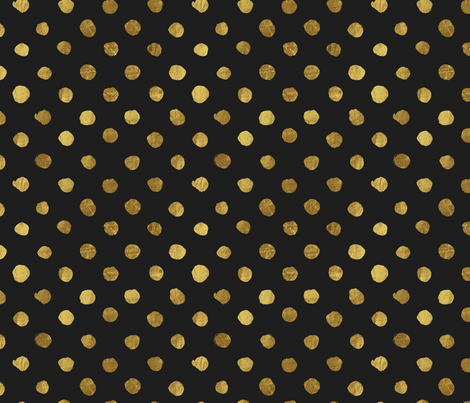 Dots gold on black fabric by crystal_walen on Spoonflower - custom fabric