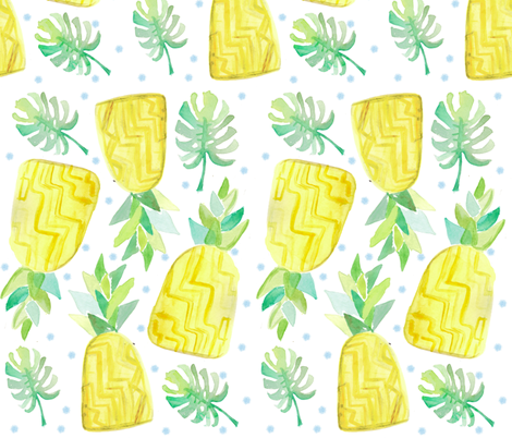 Watercolor Pineapple fabric by pixabo on Spoonflower - custom fabric