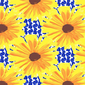 Sunflowers on Bluets