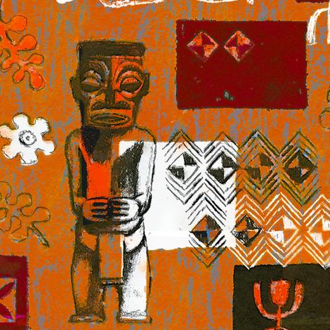Tahitian Tikis 2b fabric by muhlenkott on Spoonflower - custom fabric