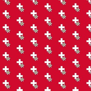 white swiss cross and edelweiss - small