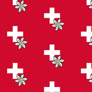 white swiss cross and edelweiss - large