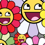 TAKASHI MURAKAMI inspired happy Flowers blossom Kaikai kiki awesome face epic smiley smiling superflat pop art japanese meme 4chan rage comics rainbow colorful multi colored colors emoji - LARGE size
