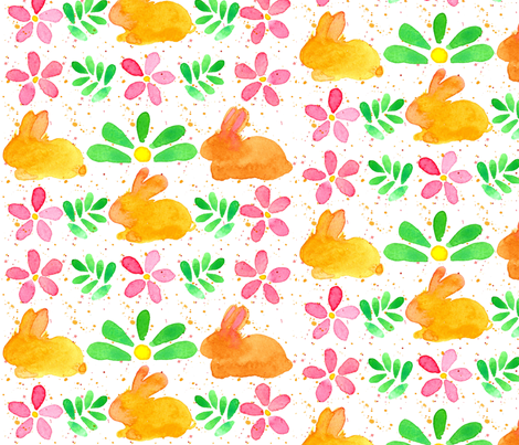 Bunny Flowers fabric by countrygarden on Spoonflower - custom fabric