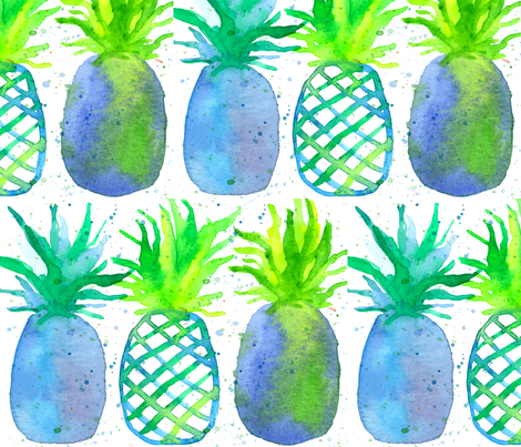 Pineapples in Blue fabric by countrygarden on Spoonflower - custom fabric
