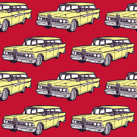 1959 Edsel Villager in Jonquil Yellow on red fabric by edsel2084 on Spoonflower - custom fabric