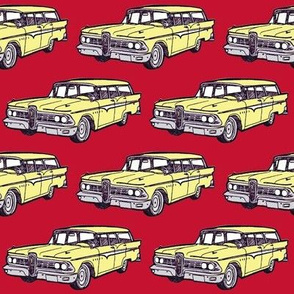 1959 Edsel Villager in Jonquil Yellow on red