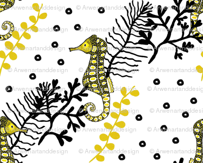 Black and Yellow Seahorse