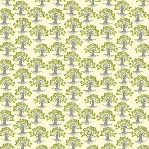 mini oak trees on pale yellow