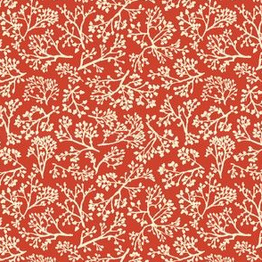 oak leaves on red