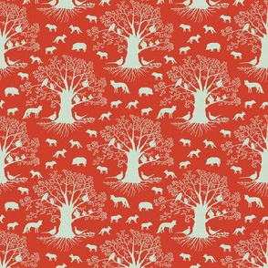 small animal silhouette on red