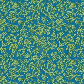 oak leaves on blue