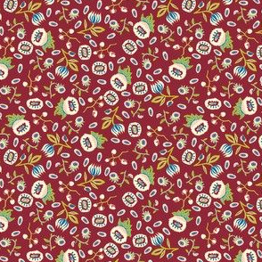 medieval mixed little flowers on burgundy