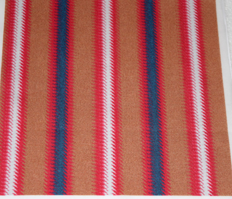 Ripple Stripe Tan Blue Pinkish Red and White