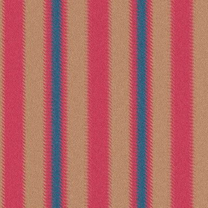 Ripple Stripe Tan Pinkish Red and Blue
