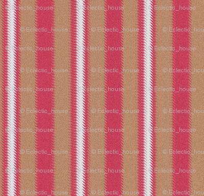 Ripple Stripe Tan Pinkish Red and White