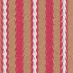 Ripple Stripe Tan Pinkish Red and White