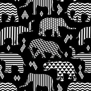 Geometric Elephants on Black // Small