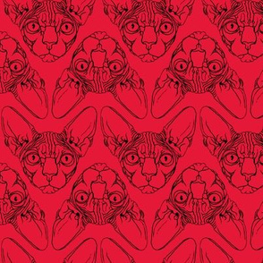 Sphynx lines fabric Red