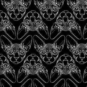 Sphynx lines fabric black