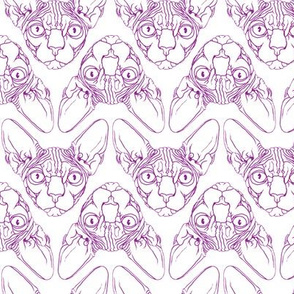 Sphynx lines fabric white & purple