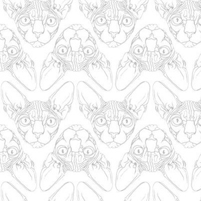 Sphynx lines fabric white & grey