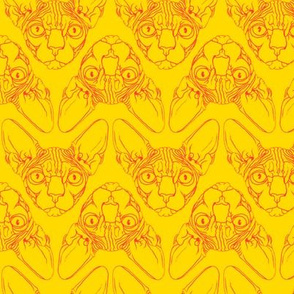 Sphynx lines fabric yellow & orange