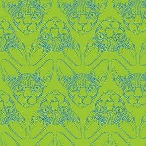 Sphynx lines fabric lime green & blue