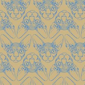Sphynx lines fabric khaki & blue