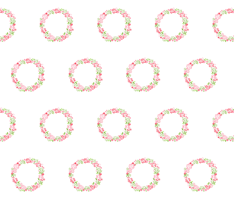 Petal shabby chic rose wreath fabric by drapestudio on Spoonflower - custom fabric