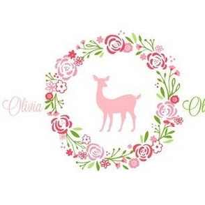 Petal Deer personalized shabby chic rose wreath