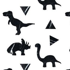 Marble Black White Monochrome Dinosaur