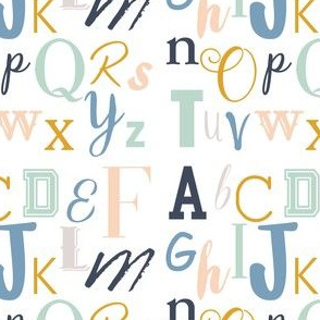 Mint Gold Blue Alphabet