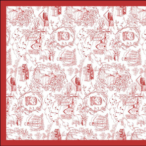 Country Toile Red Tea Towel