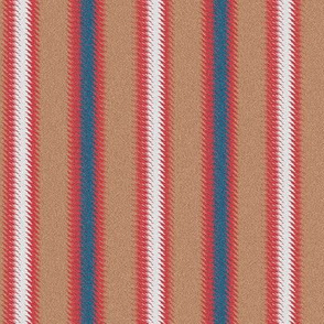 Ripple Stripe Tan Blue Red and White