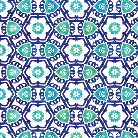 abstract floral (small scale) || reversed blue tones fabric by littlearrowdesign on Spoonflower - custom fabric