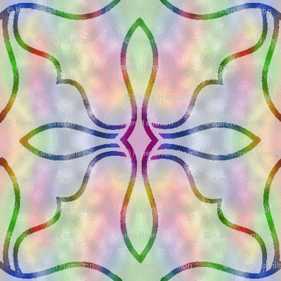 Large Stained Glass on Rainbow Background