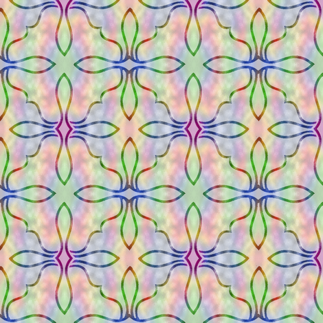 Large Stained Glass on Rainbow Background fabric by karwilbedesigns on Spoonflower - custom fabric