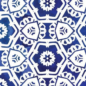 abstract floral || deep blue
