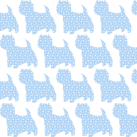 winter westie in blue fabric by altrincham on Spoonflower - custom fabric