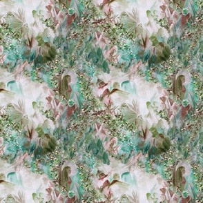 Dreamscape 1, small scale, basic repeat,  dusty rose, teal