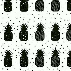 Pineapples - monochrome geometric tropical black and white fruit || by sunny afternoon