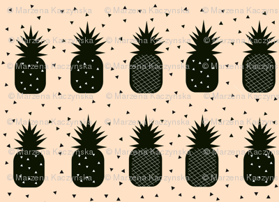 Pineapples - geometric black on blush peach, monochrome tropical fruit || by sunny afternoon