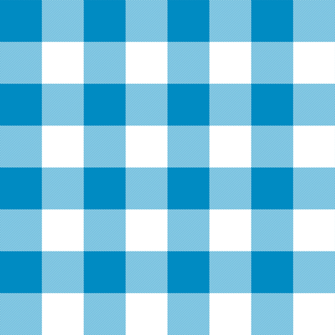 Bright blue and white one inch gingham fabric by weavingmajor on Spoonflower - custom fabric