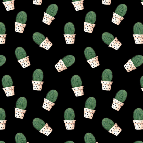 cacti on black ground fabric by stofftoy on Spoonflower - custom fabric