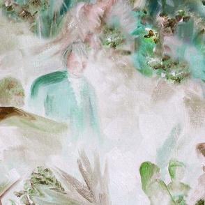 DRSC1 - Surreal Antebellum Landscape in Dusty Rose - Teal - Large