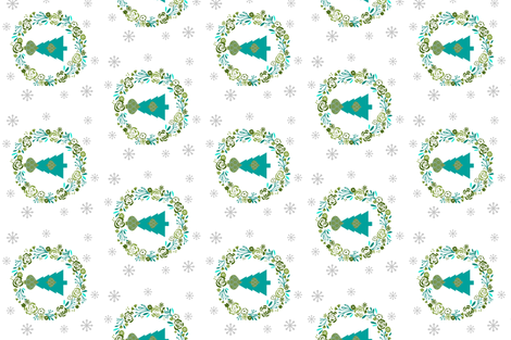 Aqua  vertical Holiday shabby chic rose wreath fabric by drapestudio on Spoonflower - custom fabric