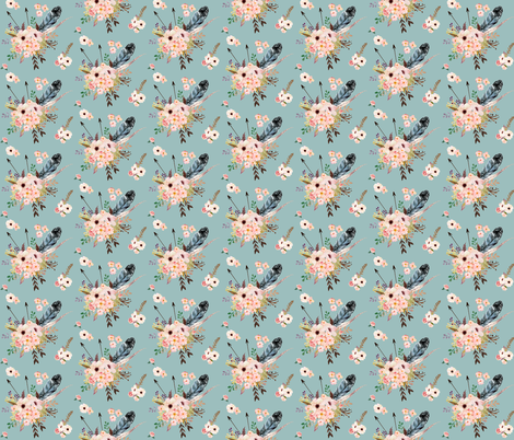 Boho Pink in Blue fabric by shopcabin on Spoonflower - custom fabric