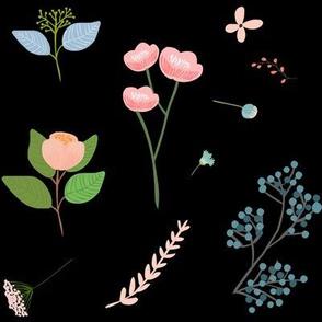 Misha's Flowers Pink & Blue - Black